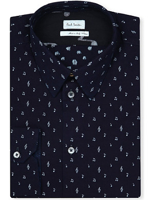 PAUL SMITH MAINLINE Music note print slim-fit shirt
