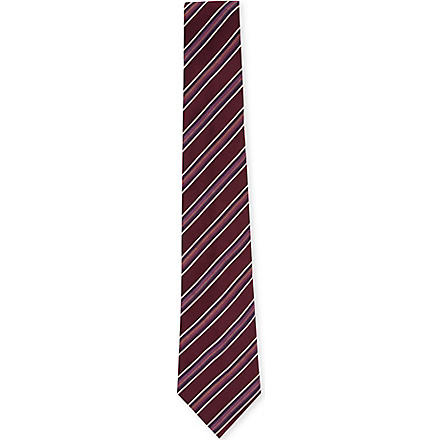 PAUL SMITH Diagonal stripe pin-dot tie (Red