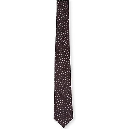 PAUL SMITH Hand-drawn heart silk tie (Blue