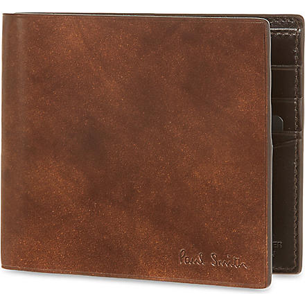 PAUL SMITH LONDON Welded edge leather billfold (Chocolate