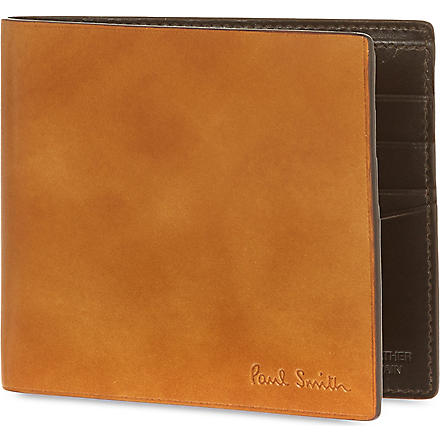 PAUL SMITH LONDON Welded edge leather billfold (Tan