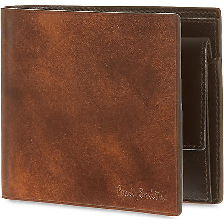 PAUL SMITH LONDON Welded edge leather coin billfold (Chocolate