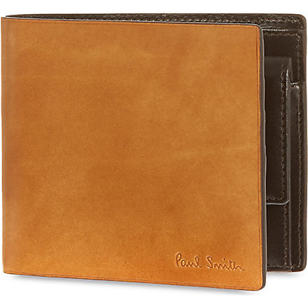 PAUL SMITH LONDON Welded edge leather coin billfold (Tan