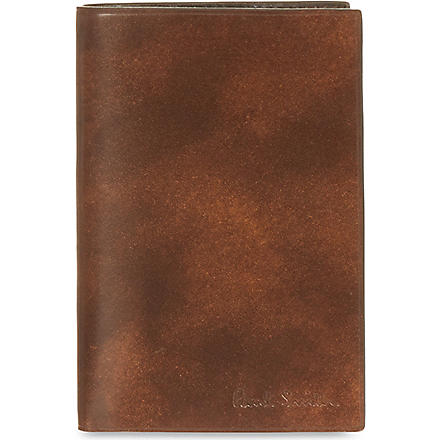 PAUL SMITH LONDON Welded edge leather card case (Chocolate