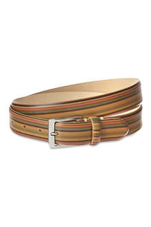 PAUL SMITH LONDON Leather vintage striped belt