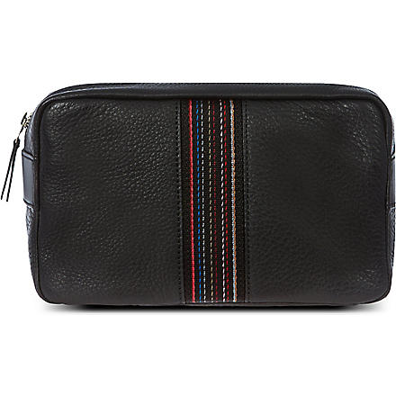 PAUL SMITH LONDON City webbing leather wash bag (Black
