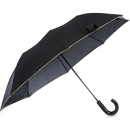 PAUL SMITH LONDON Striped-edge crook umbrella (Black