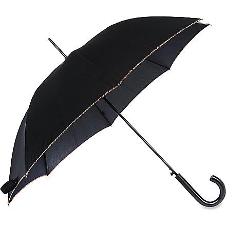 PAUL SMITH LONDON Striped-edge umbrella (Black