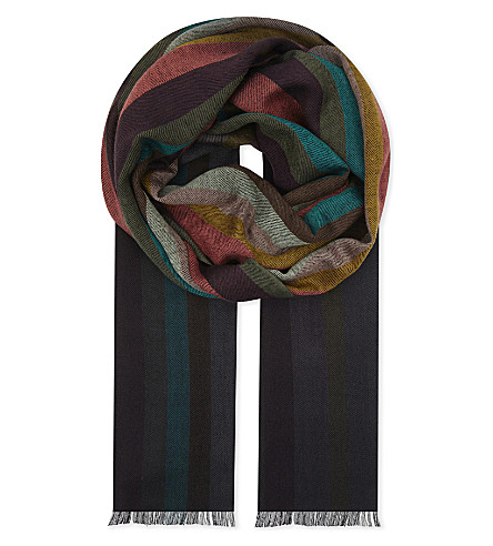 Artist Striped Virgin Wool And Silk-blend Scarf Paul Smith lcOhd4