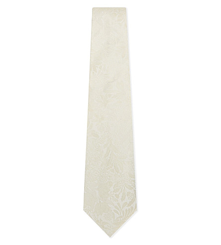 PAUL SMITH Embroidered floral silk tie (Ivory