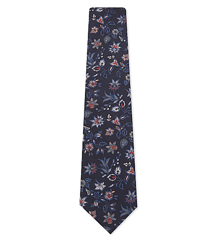 PAUL SMITH Embroidered floral silk tie (Blue