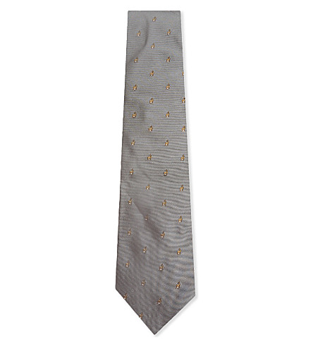 PAUL SMITH Rabbit pattern silk tie (Grey