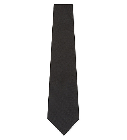 PAUL SMITH Mini grid textured silk tie (Black