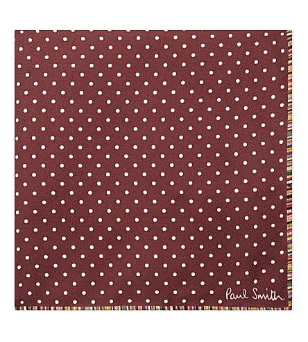 PAUL SMITH Multi-stripe and polka dot silk pocket square (Bordeux