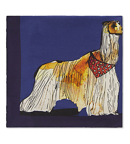 PAUL SMITH Dog-print silk pocket square (Navy
