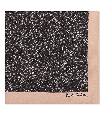 PAUL SMITH Multi-star silk pocket square (Navy/pink