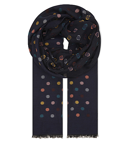 PAUL SMITH Multi-spot cotton-modal scarf (Navy