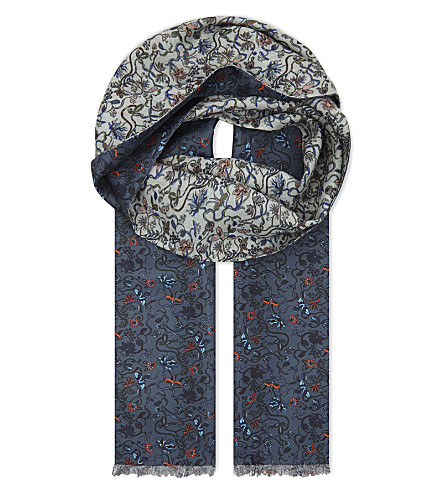 PAUL SMITH Floral silk scarf (Navy+multi