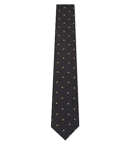 PAUL SMITH Stars silk tie (Black