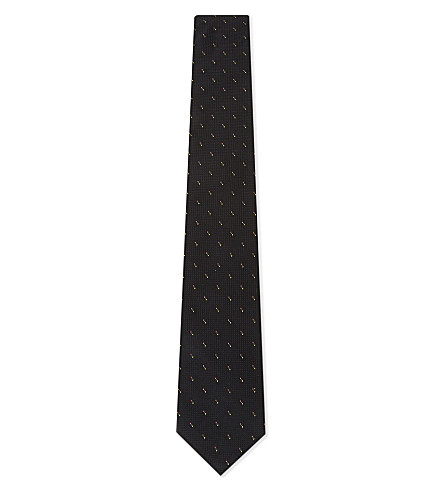 PAUL SMITH Mulit-coloured triple dot silk tie (Black