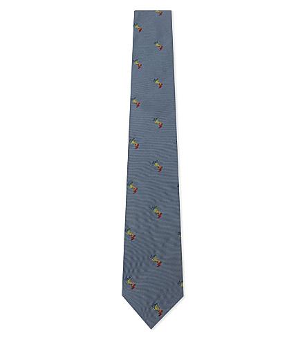 PAUL SMITH Multi-coloured rabbits silk tie (Sky+blue