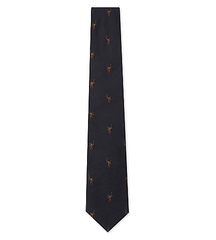 PAUL SMITH Monkeys silk tie (Navy