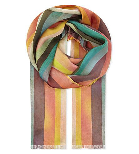 PAUL SMITH Artist striped silk scarf (Multi