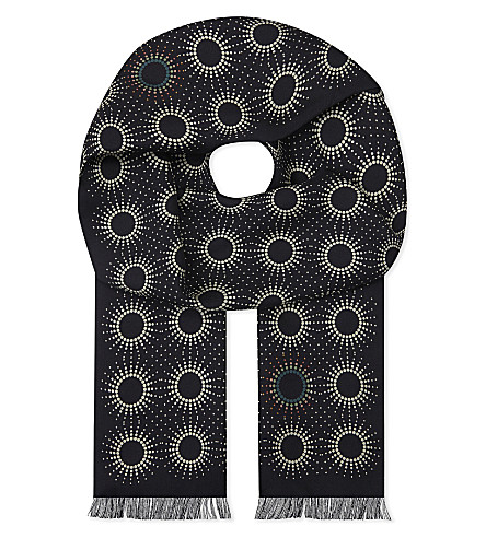 PAUL SMITH Sun-print silk scarf (Black