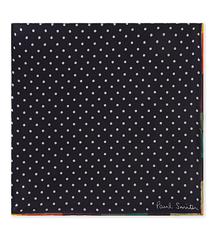 PAUL SMITH Polka dot silk pocket square (Navy