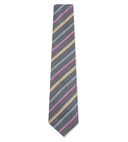 PAUL SMITH Diagonal rainbow-stripe silk tie (Grey