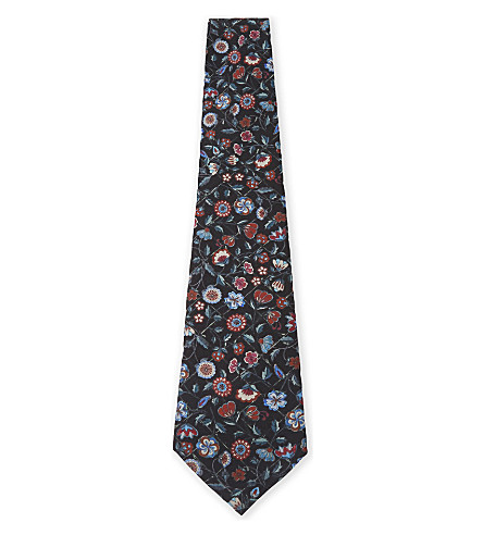 PAUL SMITH Floral silk tie (Black