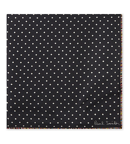 PAUL SMITH Polka dot artist stripe silk pocket square (Navy