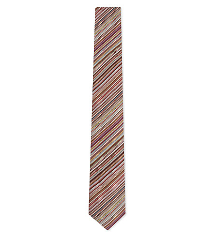 PAUL SMITH Classic multi-stripe silk tie (Red