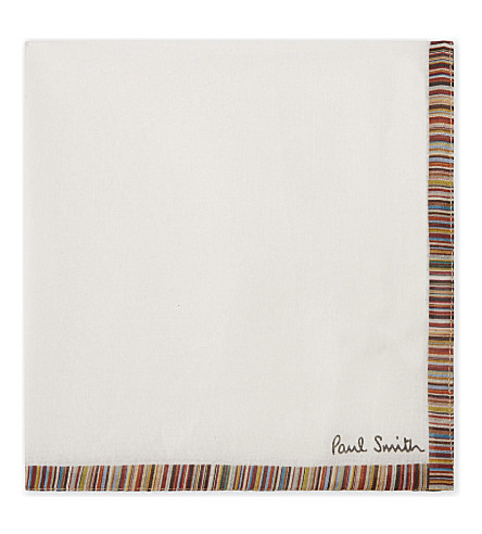 PAUL SMITH Artist stripe cotton pocket square (White