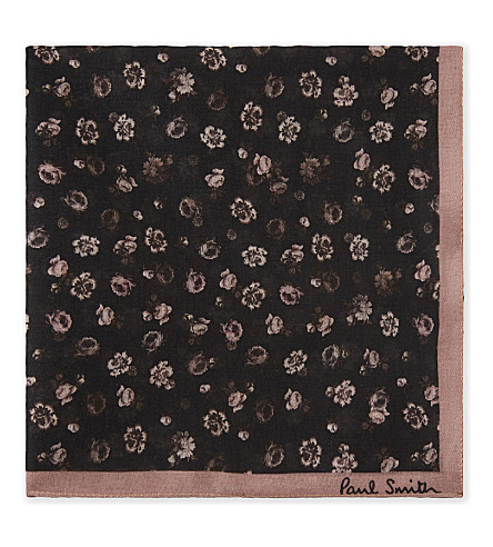 PAUL SMITH Floral print cotton pocket square (Black