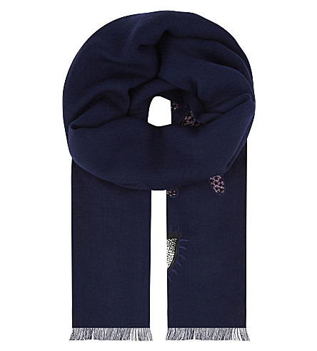 PAUL SMITH 1974 embroidered wool scarf (Navy
