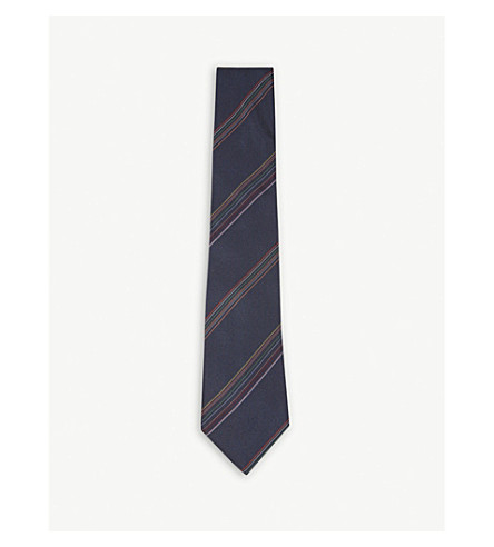 PAUL SMITH Multi-tonal diagonal stripe silk tie (Blue