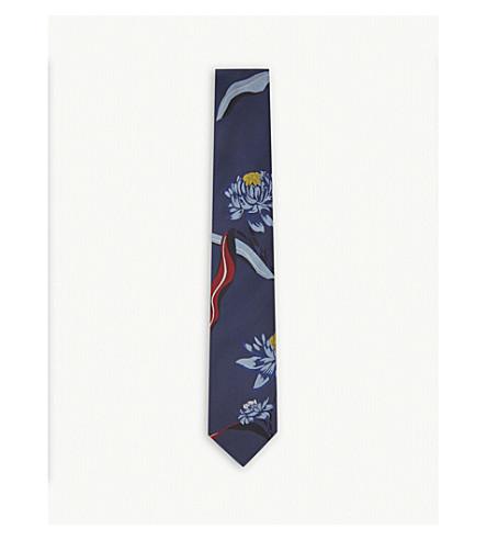 PAUL SMITH Big floral silk tie (Navy