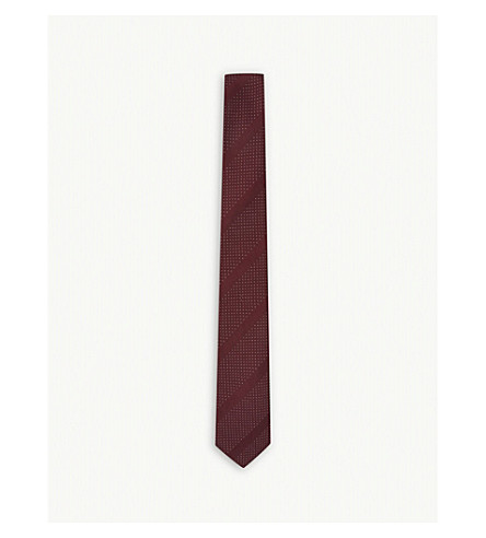 PAUL SMITH Spotted stripe silk tie (Claret