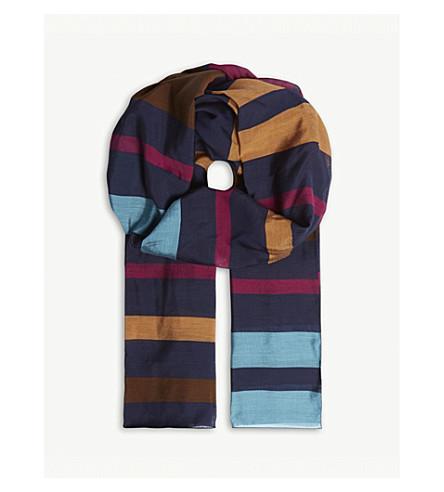 PAUL SMITH Stripe print silk-blend scarf (Navy