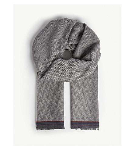PAUL SMITH 城市提花羊毛围巾 (灰色