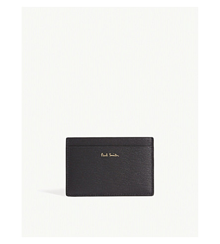 PAUL SMITH Straw grained leather card holder (Black