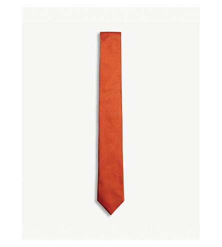 PAUL SMITH Solid silk tie (Bright+orange