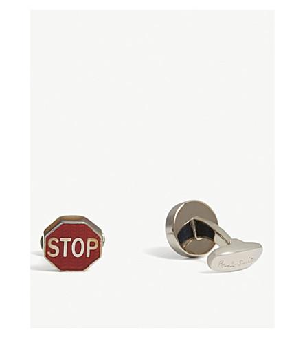 PAUL SMITH Road signs herringbone cufflinks (Silver