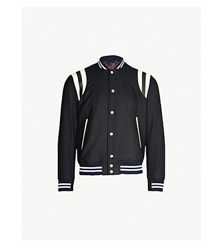 PAUL SMITH Two-tone wool varsity jacket (Navy