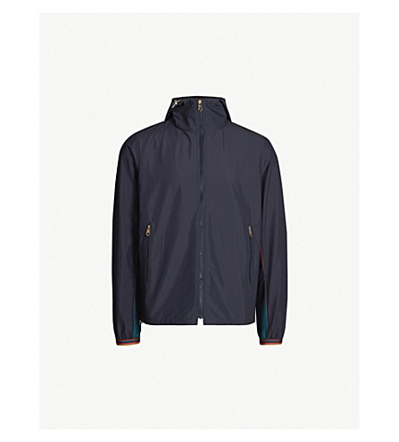 PAUL SMITH Contrast-panel zipper-up shell jacket (Navy