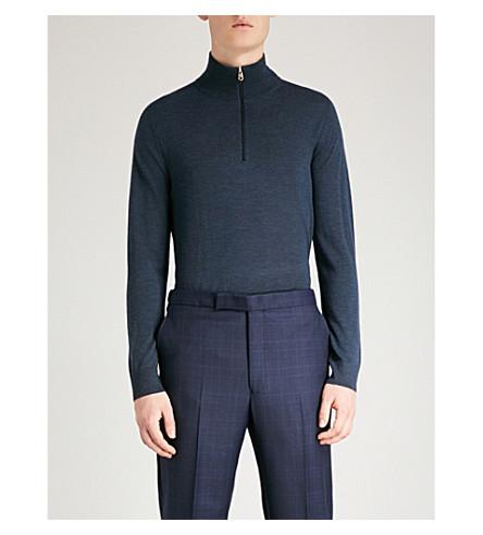 PAUL SMITH Funnel-neck merino wool jumper Blue Cheap Enjoy Largest Supplier Cheap Sale Shop Sneakernews For Sale 4j2wS2