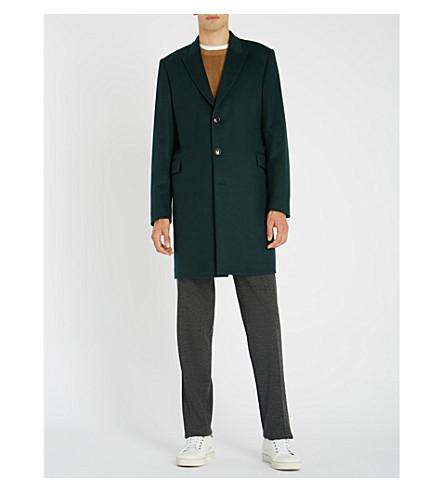 PAUL SMITH 泻羊毛和羊绒混纺大衣 (绿色