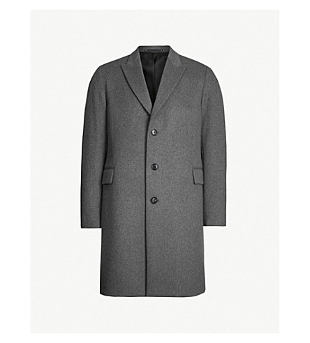 PAUL SMITH Epson peak-lapel wool and cashmere-blend coat (Grey