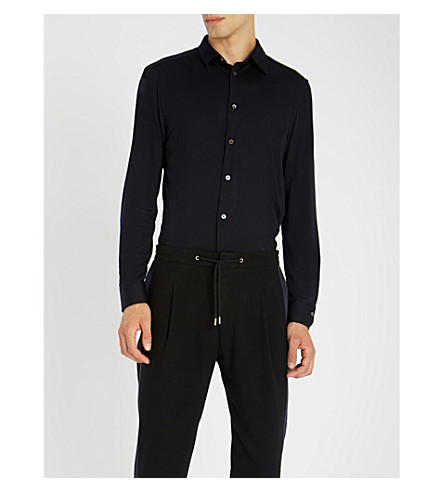PAUL SMITH Side striped wool-blend jogging bottoms (Black